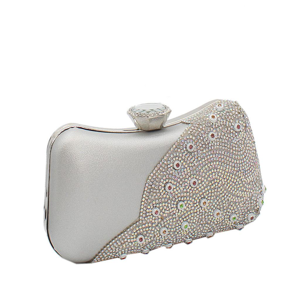 Silver Ariel Evoke Studded Leather Clutch Purse