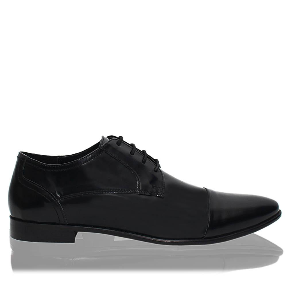 Black Newry Leather Men Derby Shoes