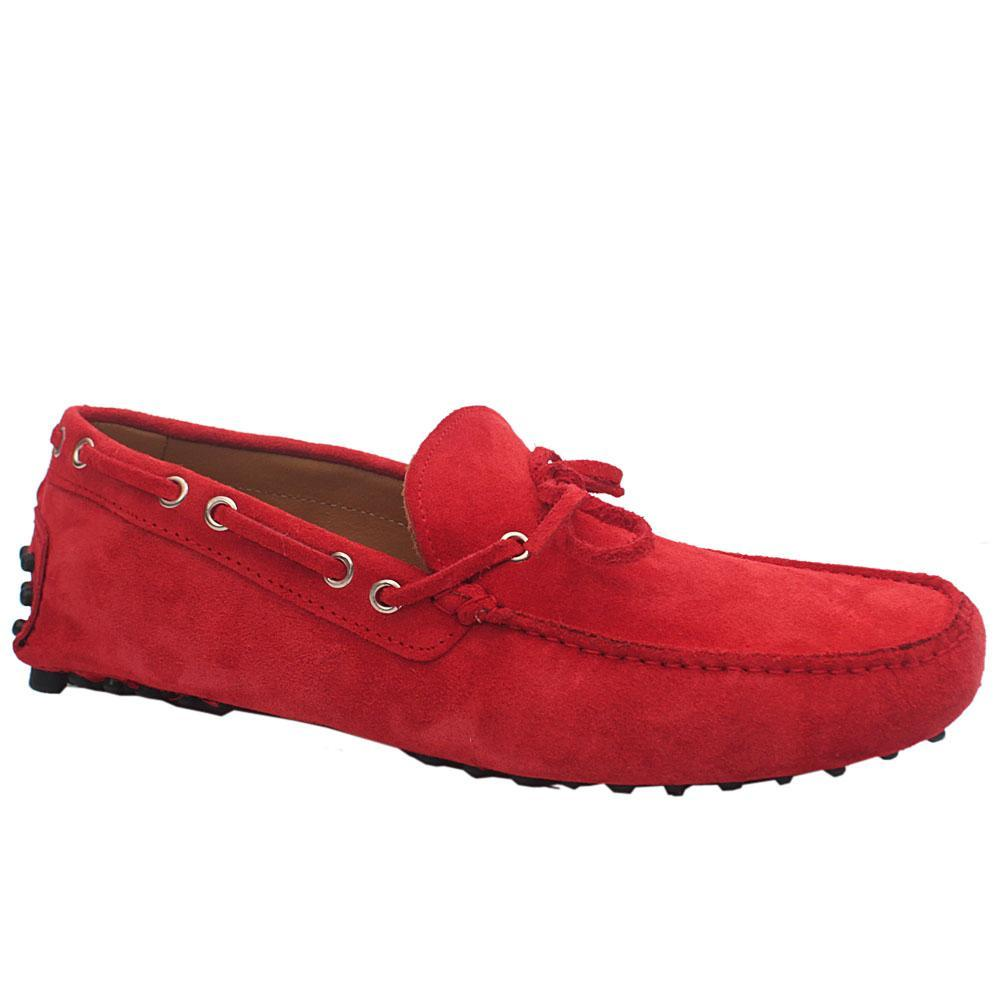 Red Suede Leather Drivers Shoes