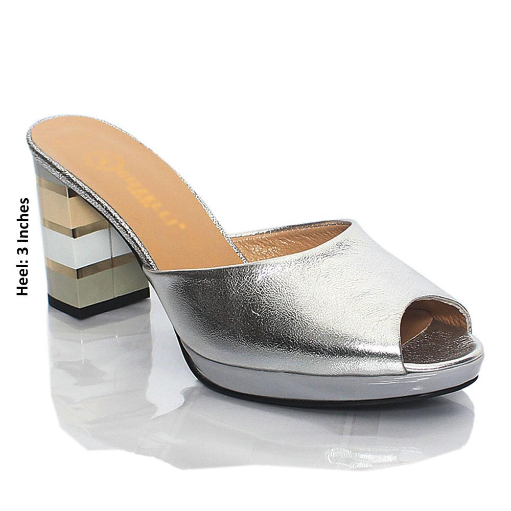 Silver Katleen Shiny Italian Leather High Heel Mule