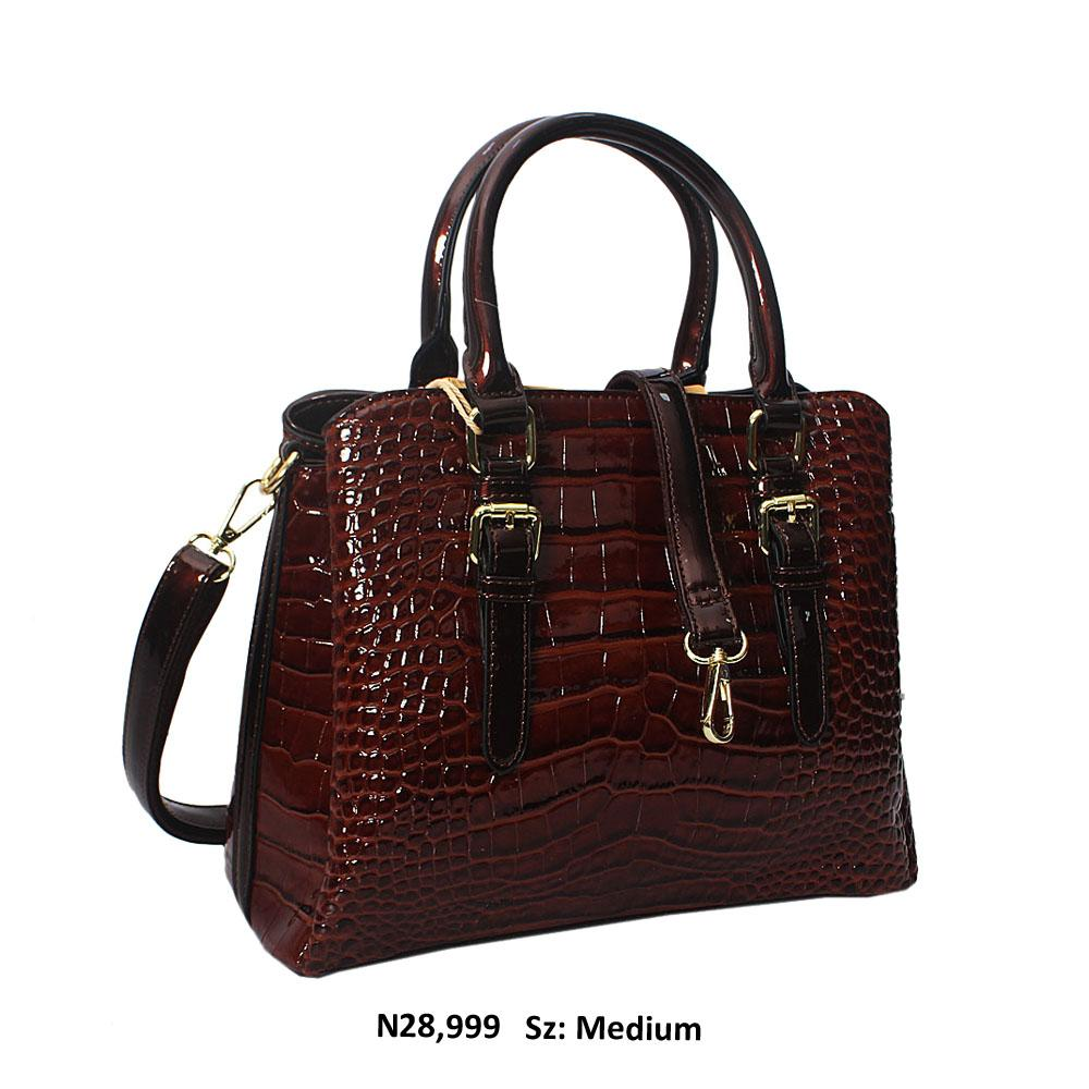 Coffee Frida Croc Style Patent Leather Tote Handbag