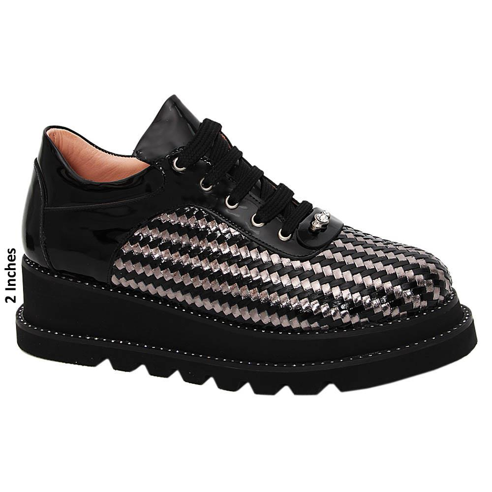 Black Morena Woven Tuscany Leather Ladies Sneakers