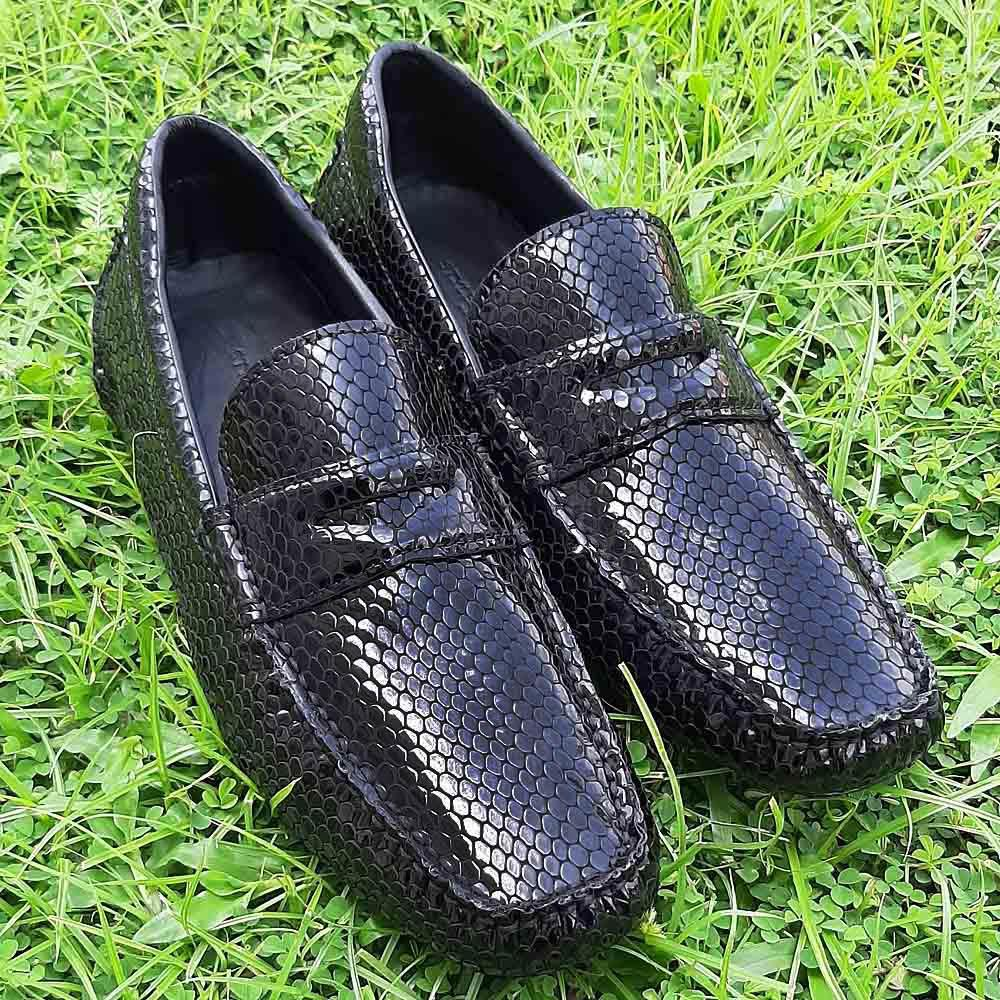 Black Marino Snake Skin Patent Italian Leather Drivers Shoe
