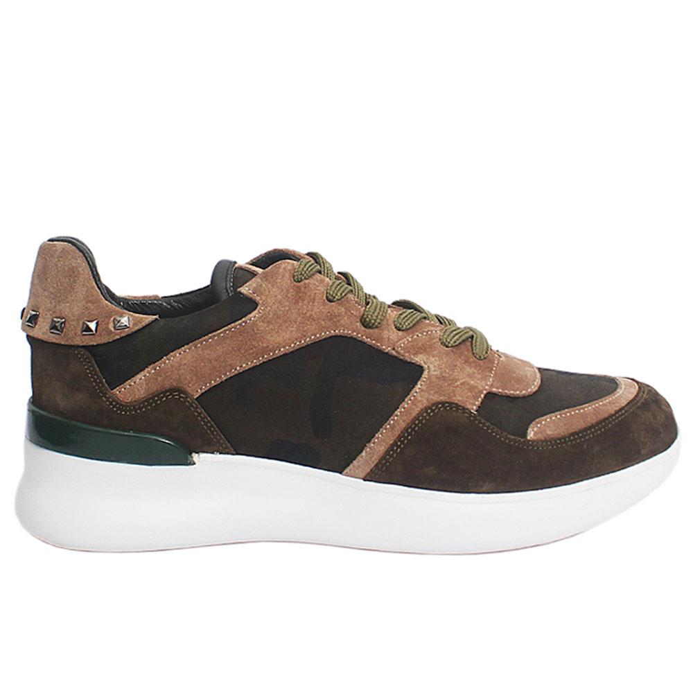 Green Camo Bosco Suede Italian Leather Sneakers