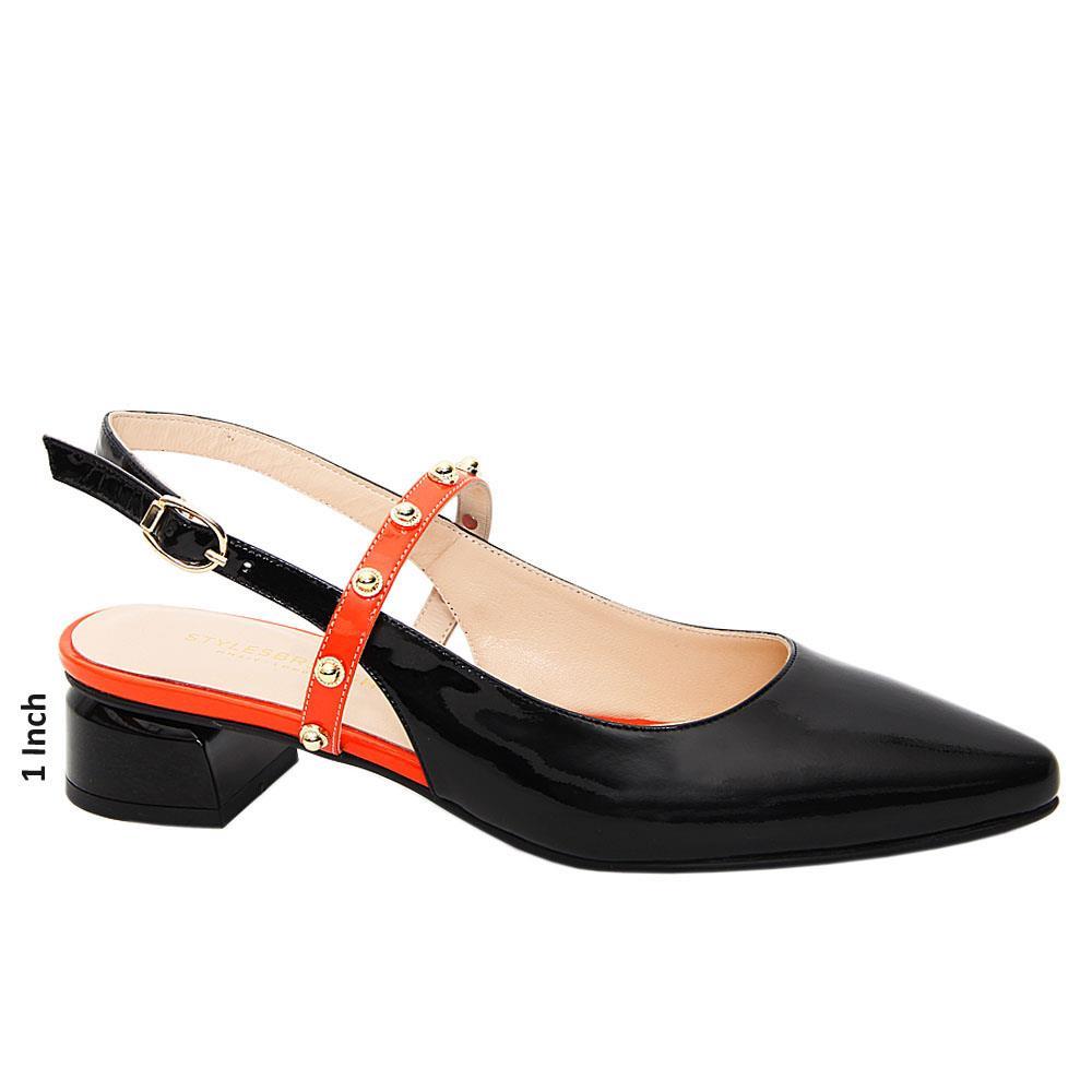Black Peyton Patent Tuscany Leather Low Heel Slingback Pumps