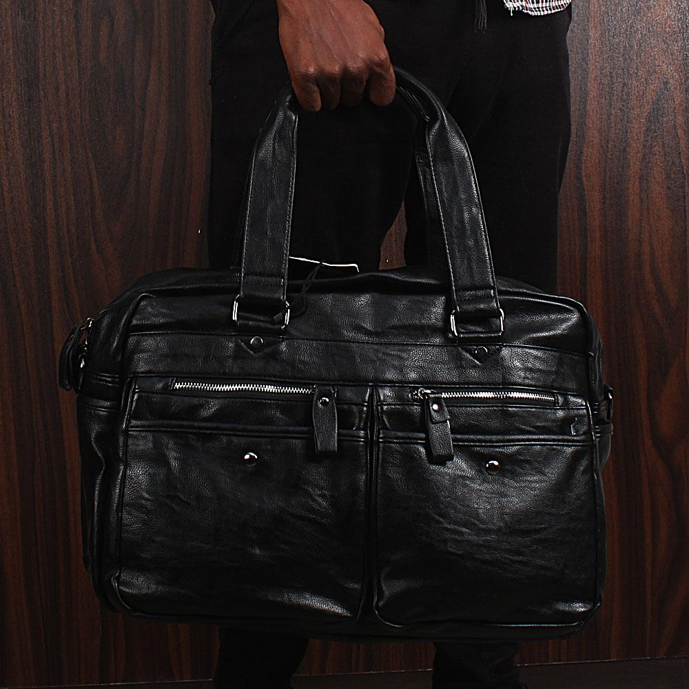 Casania-Black-Pocket-Zipped-Overnight-Travel-Bag