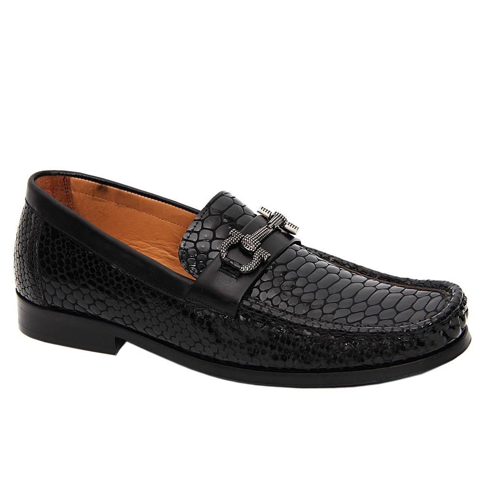 Black Bosco Patent Italian Leather Penny Loafers