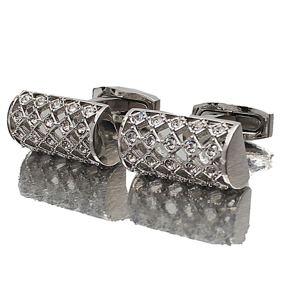 Silver Classic Studded Stainless Steel Cufflinks