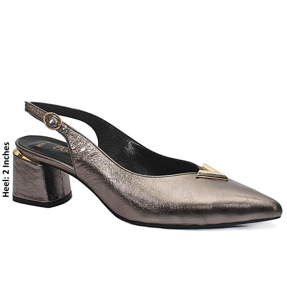 Grey Cipria Leather Slingback Heel