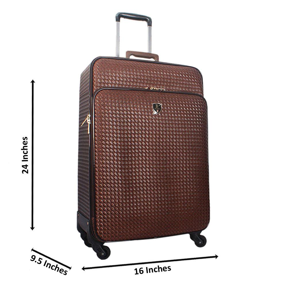 Coffee 24 Inch Woven Style Leather Medium Check-In Luggage
