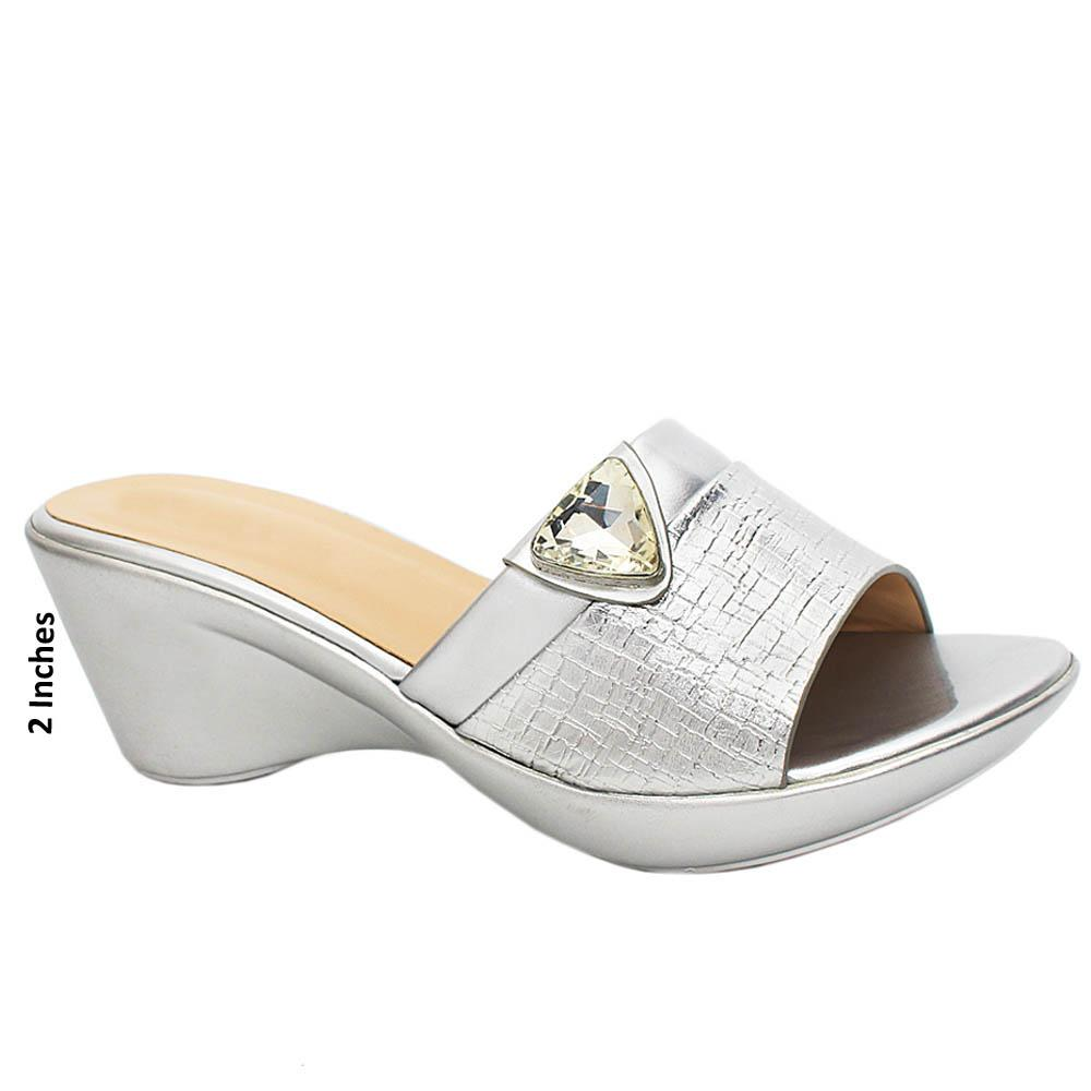Silver Esmeralda Leather Wedge Heels