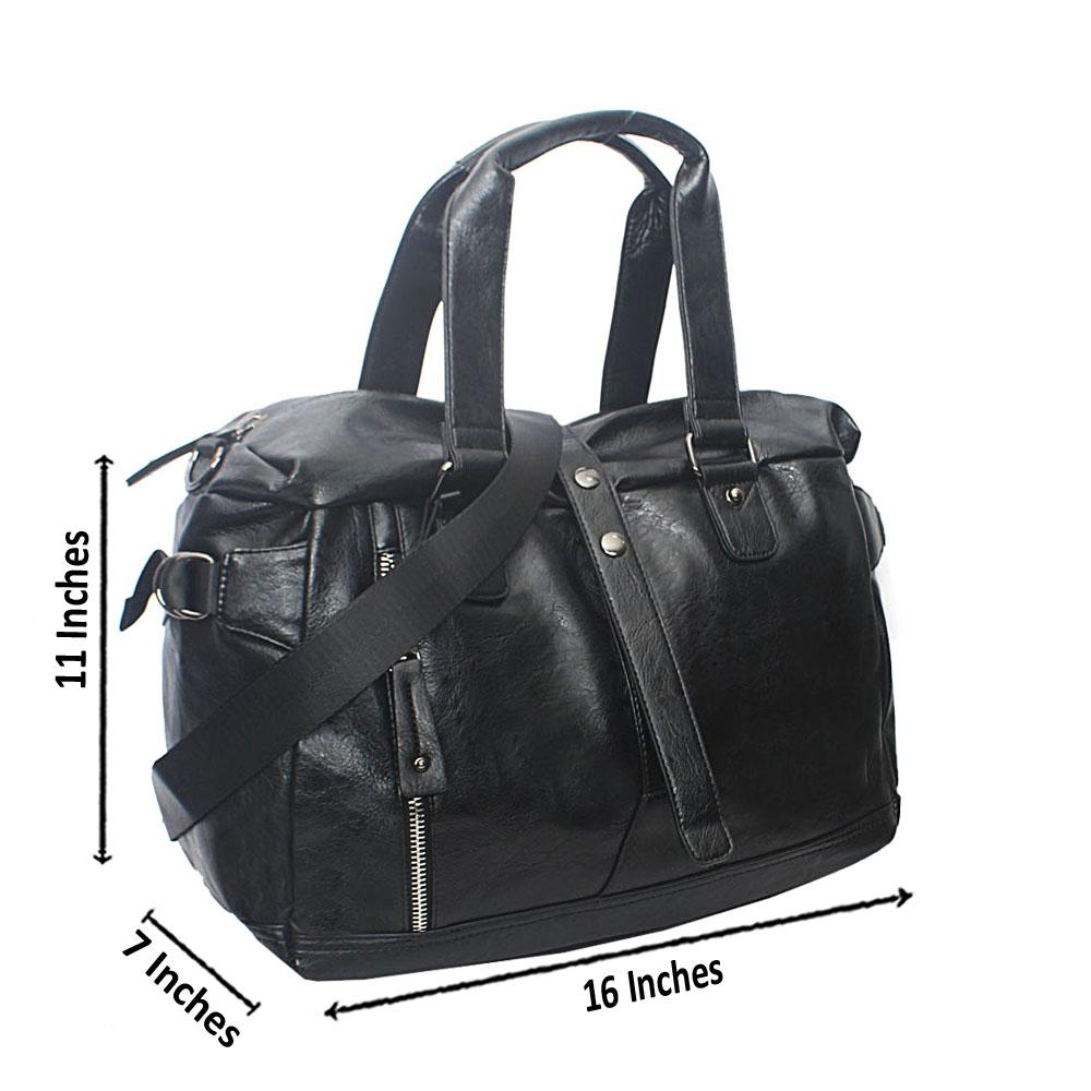 Casania Black Side Zip Overnight Travel Bag