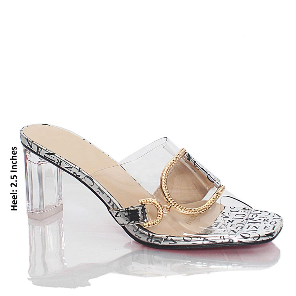 Silver Vicky Text Print Transparent Rubber Leather Mules