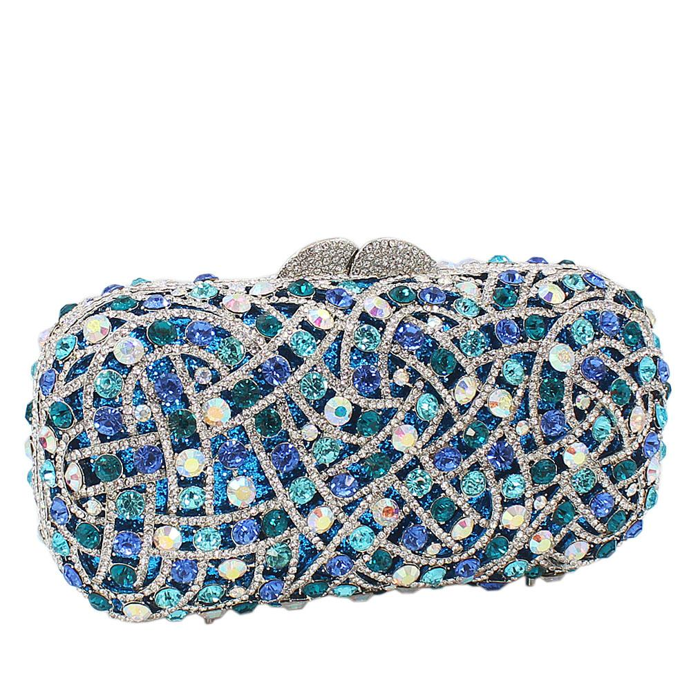 Blue Silver Diamante Crystals Clutch Purse