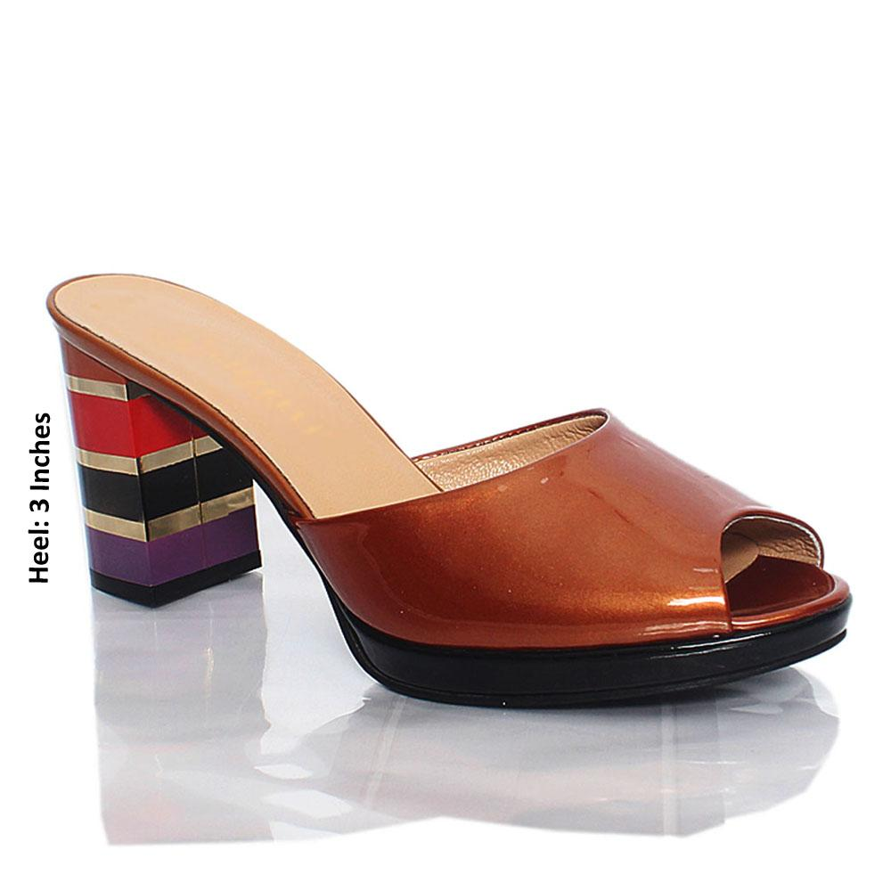 Brown Katleen Patent Italian Leather High Heel Mule
