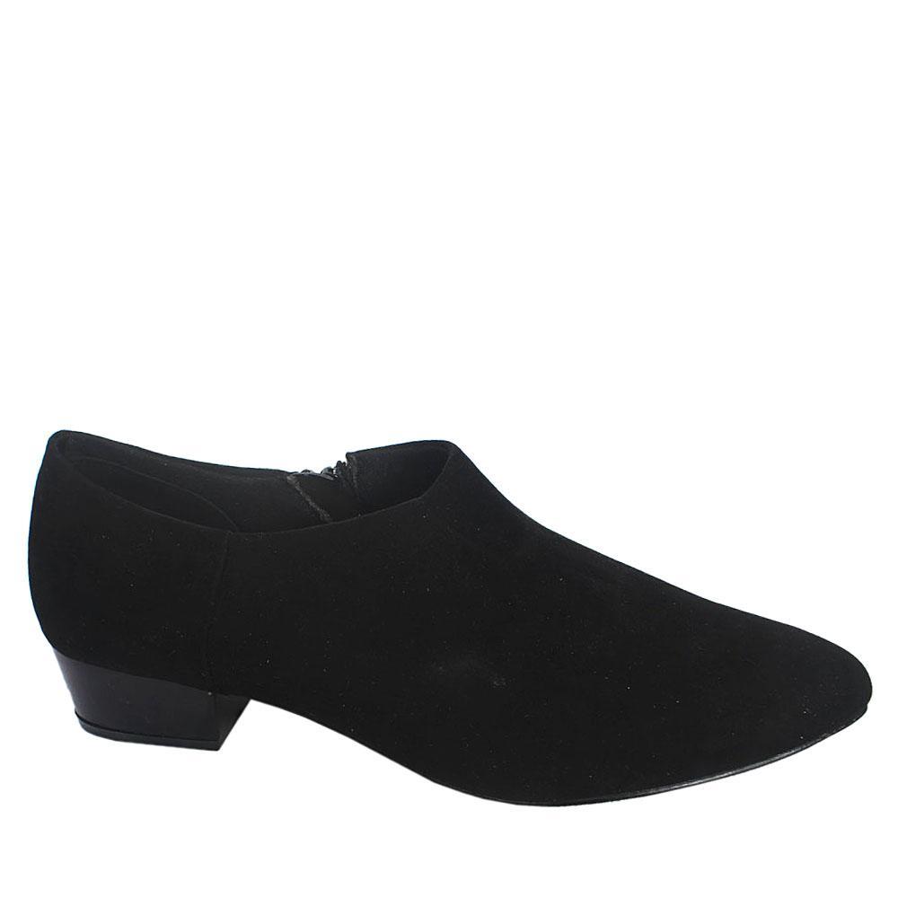 Sz 42 M & S Black Insolia Suede Leather Ladies Low Heel Shoe