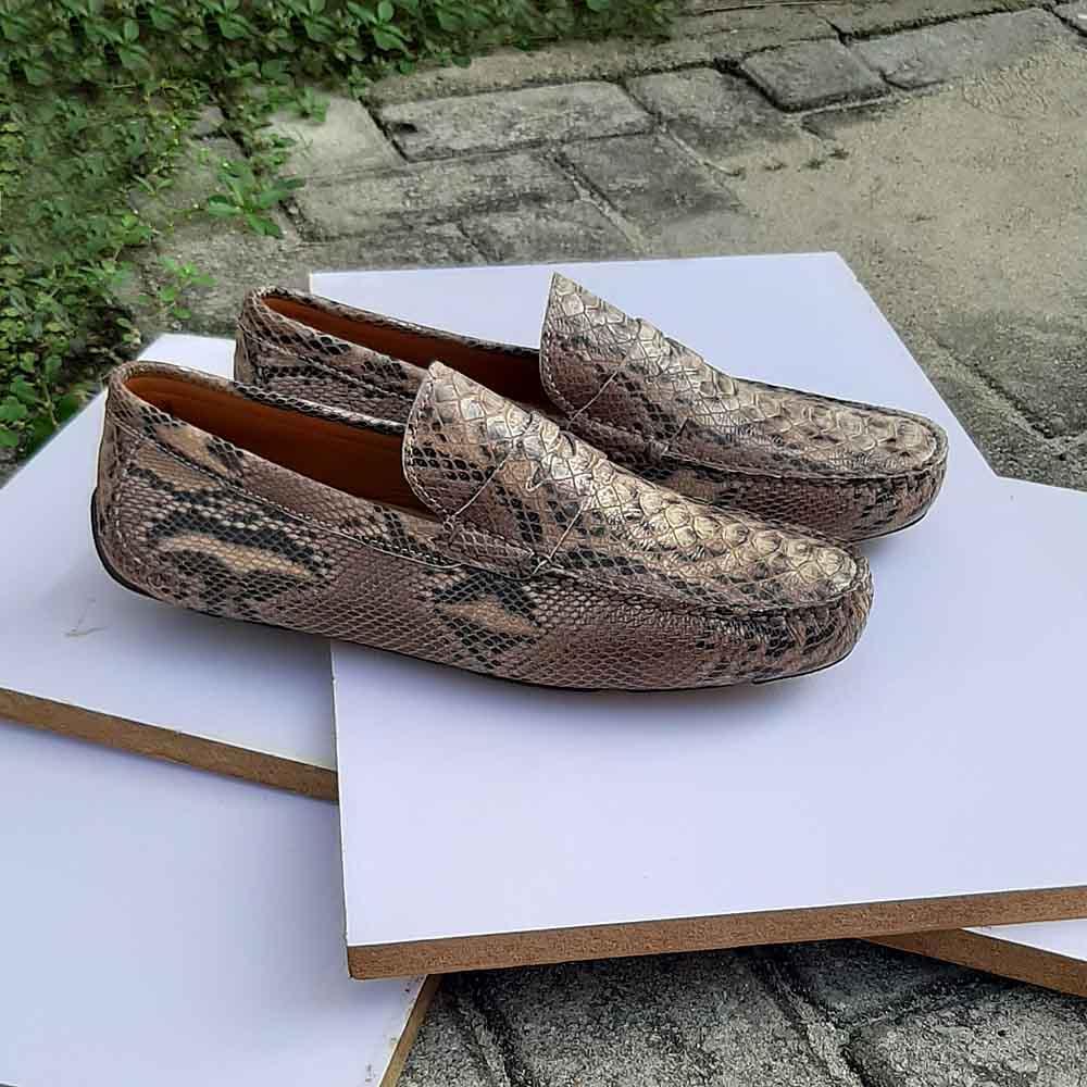 Khaki Corrado Snake Skin Italian Leather Men Drivers Shoe