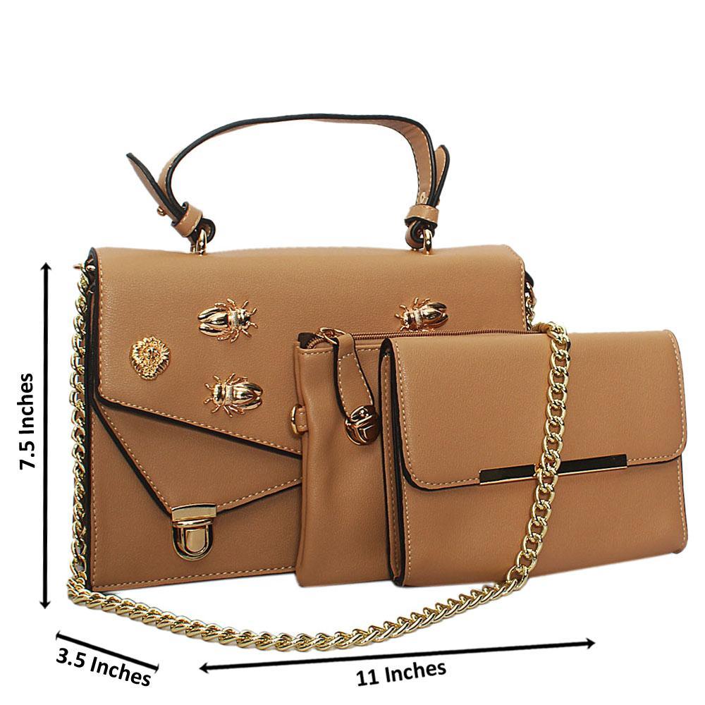 Khaki Gold Plated Leather Chain Top Handle Handbag