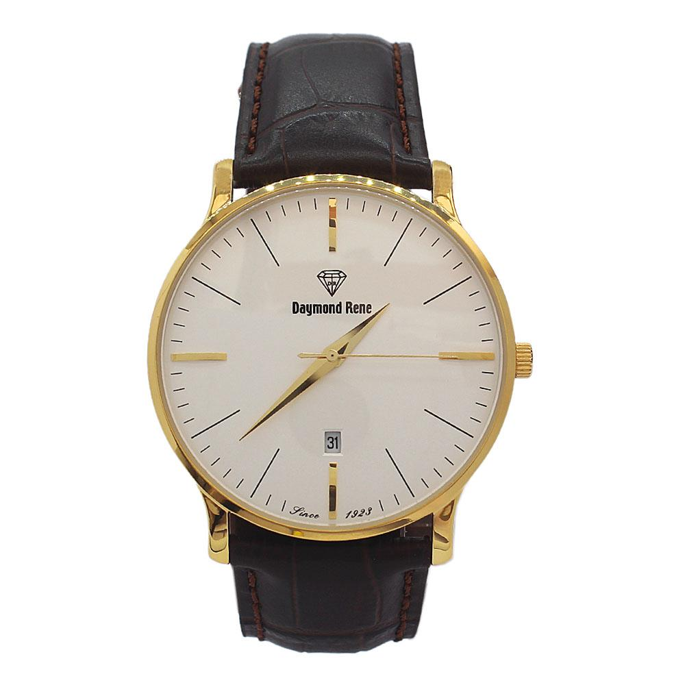 DR 3ATM Gold Coffee Leather Flat Watch