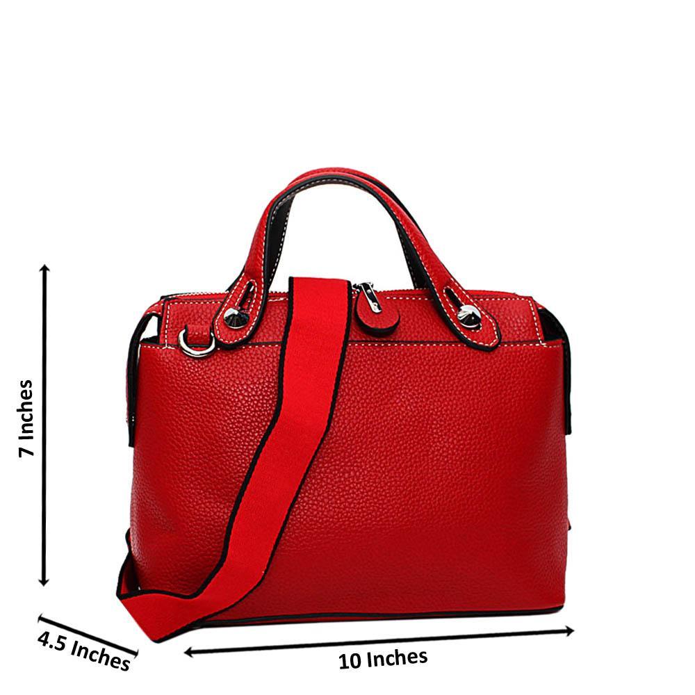 Red Jade Leather Small Tote Handbag