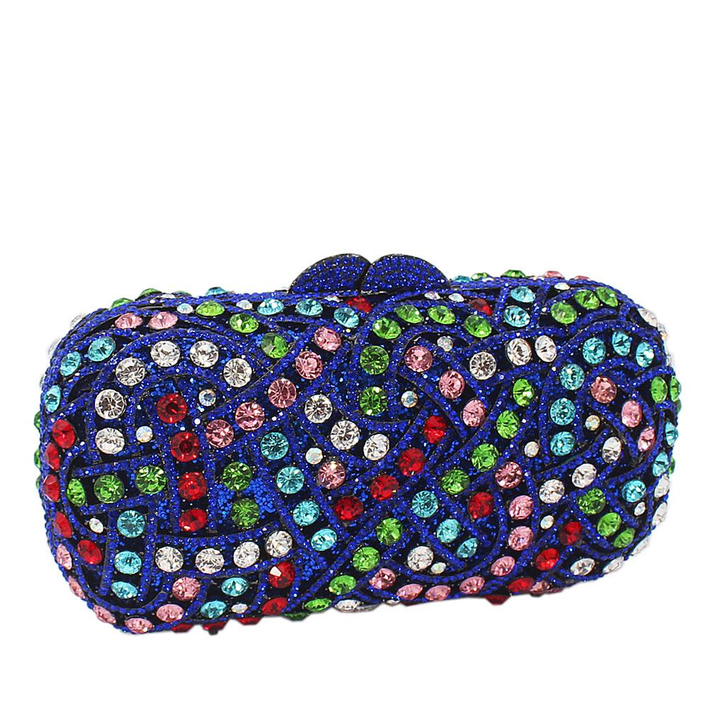 Blue Multicolor Diamante Crystals Clutch Purse