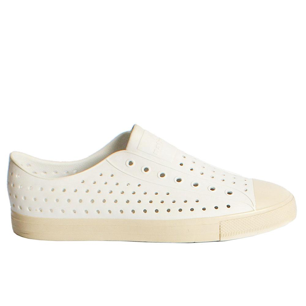 White Native Rubber Dotted Pattern Men Slipon Loafers