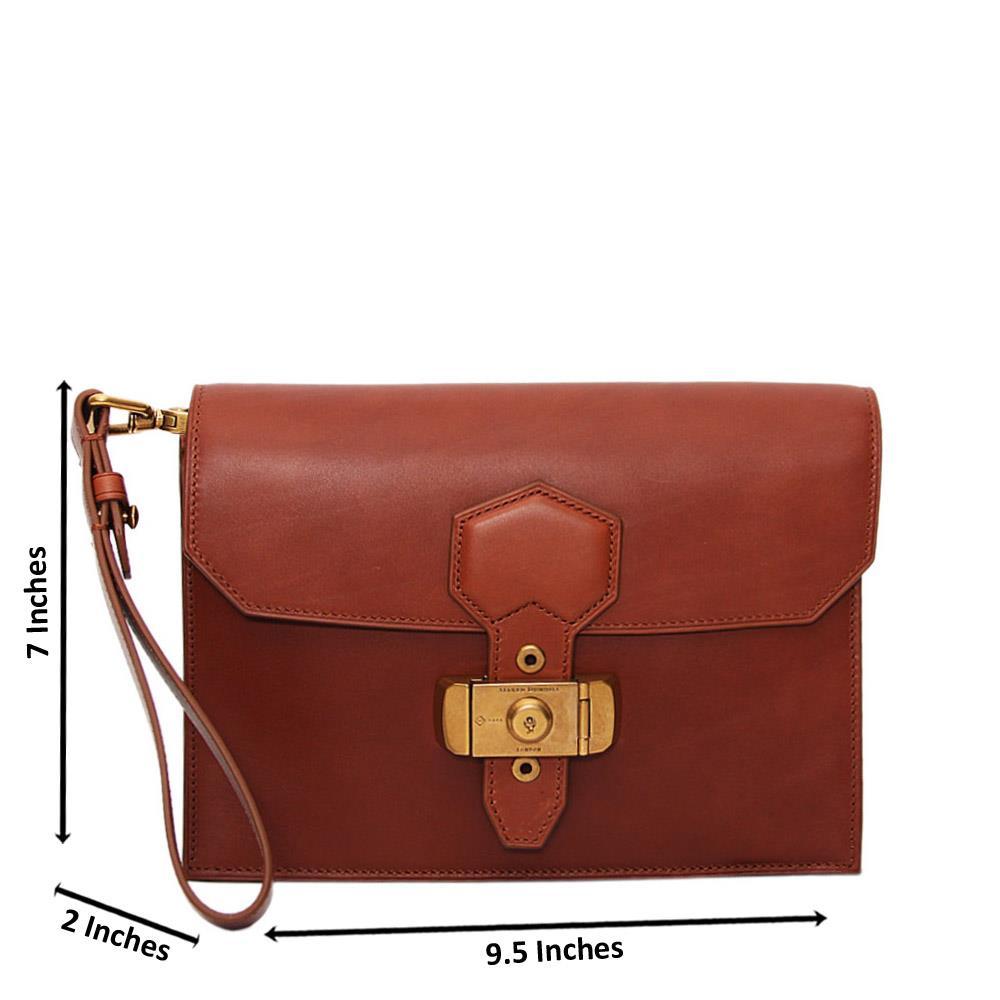 Brown Alfred Leather Man Wristlet Bag
