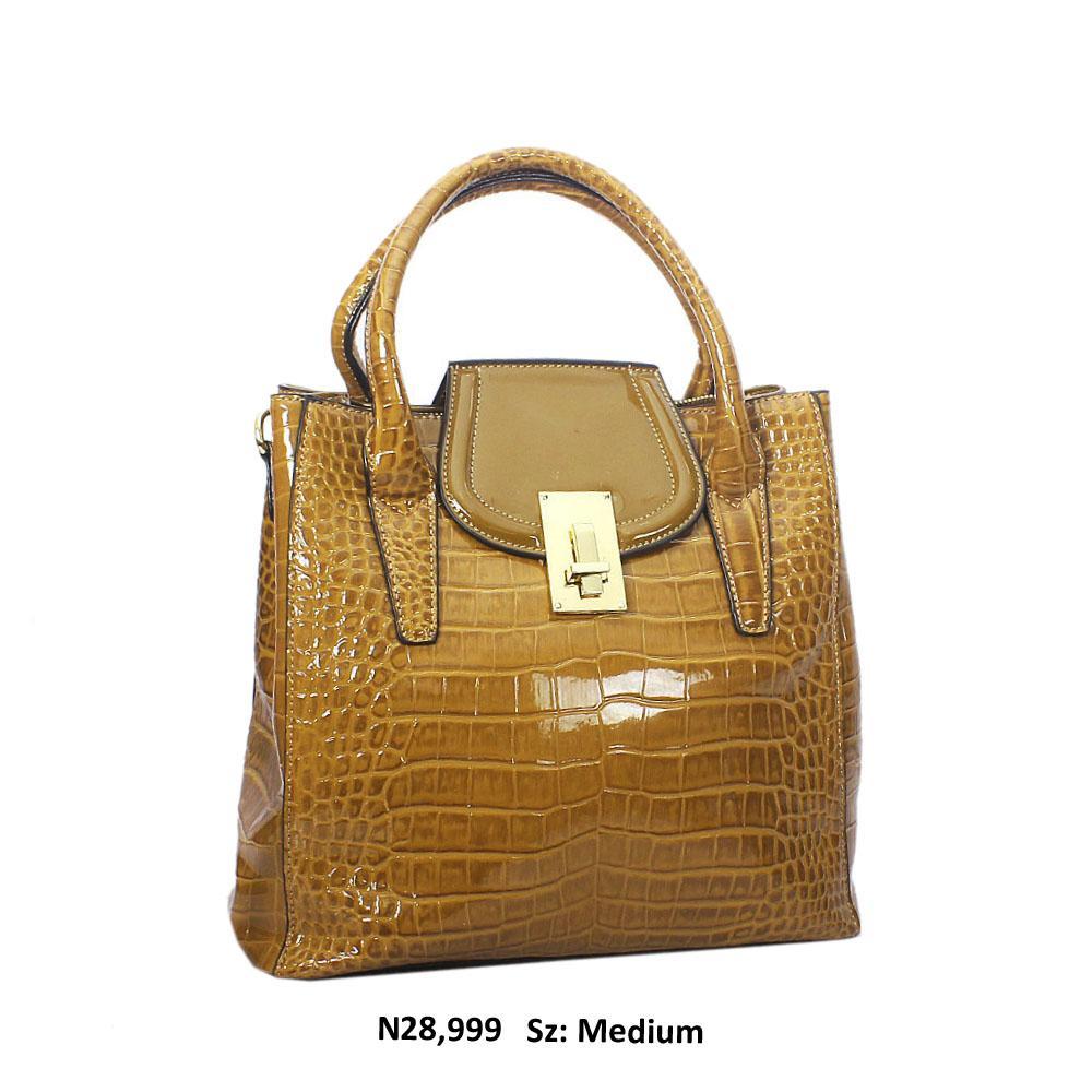Caramel Simona Croc Style Patent Leather Tote Handbag