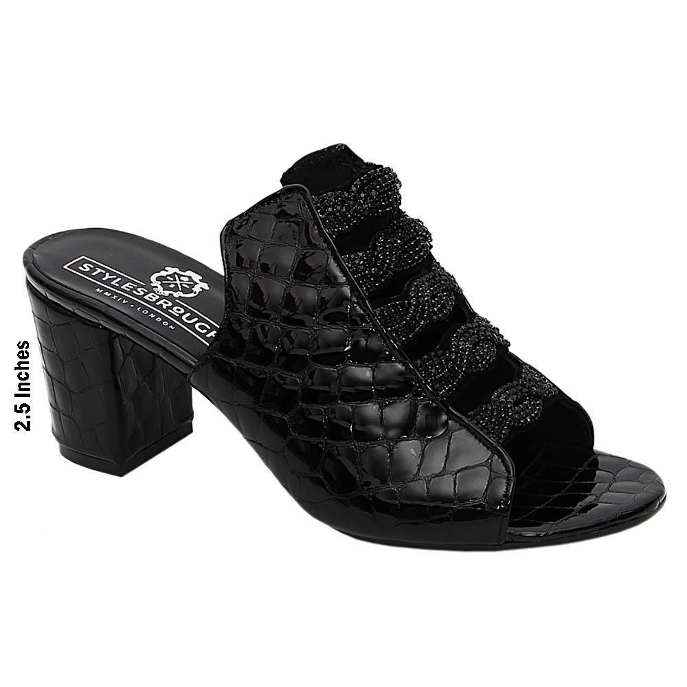 Black Madeline Patent Italian Leather High Heel Mule