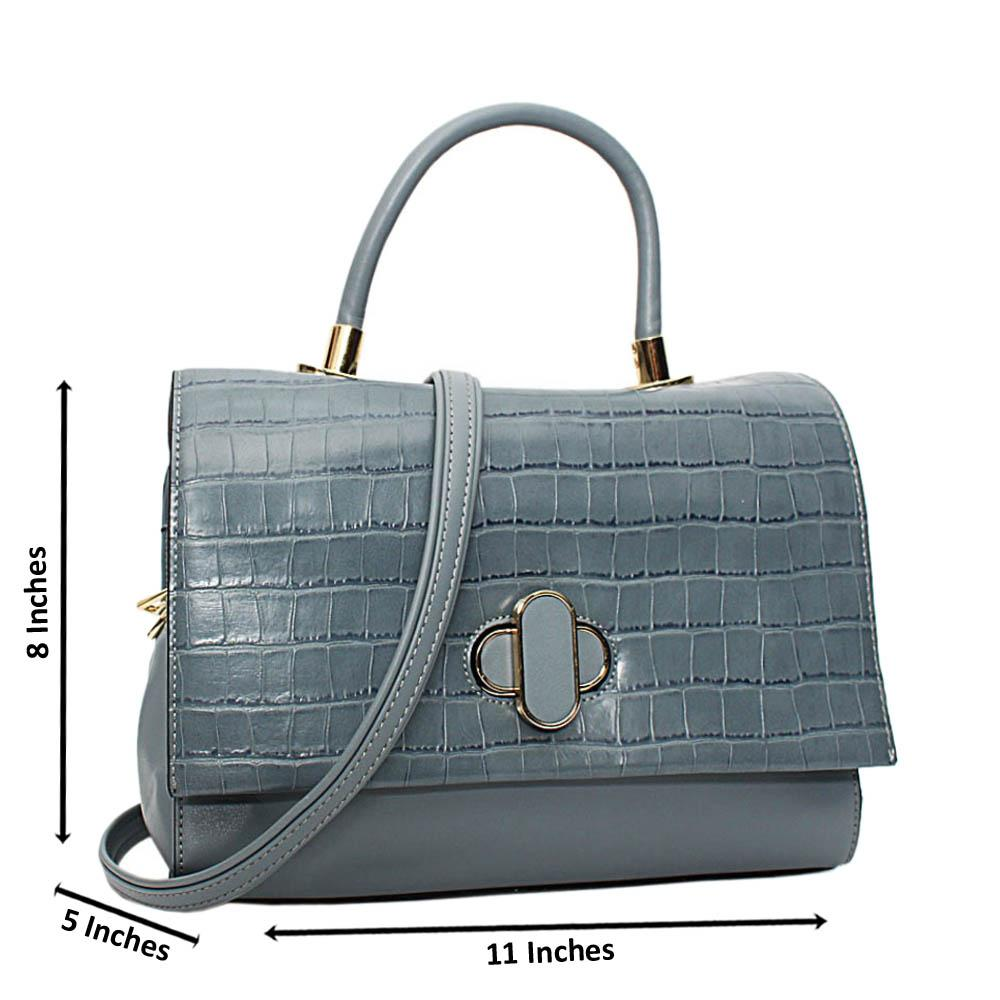 Sky Blue Alyona Mix Croc Leather Medium Top Handle Handbag