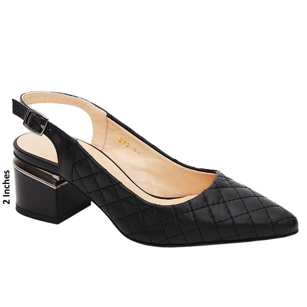 Black Michaela Threaded Tuscany Leather Mid Heel Slingback Pumps