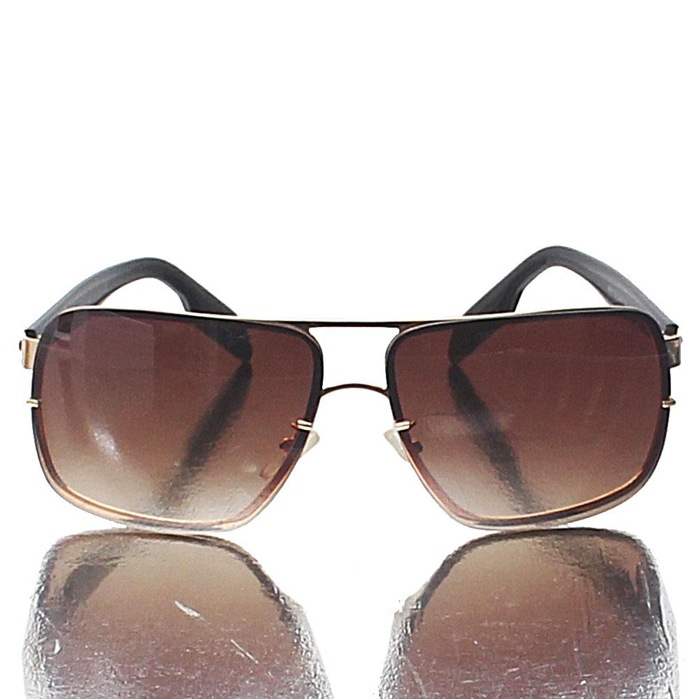 Gold Aviator Square Brown Lens Sunglasses