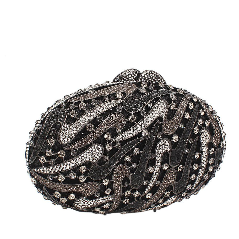 Black Silver Dots Embelished Diamante Crystals Clutch Purse