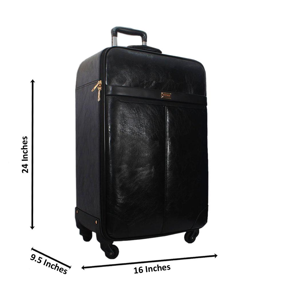 Black 24 Inch Smooth Leather Medium Check-In Luggage