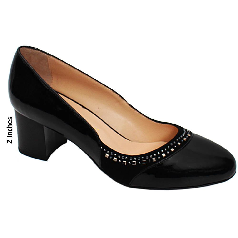 Black Gillian Studded Patent Italian Leather Pumps