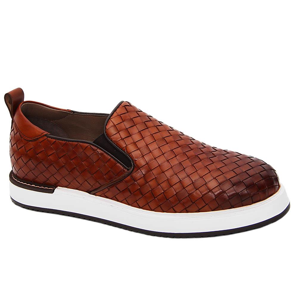 Brown Gregory Woven Italian Leather Slip-On Sneakers