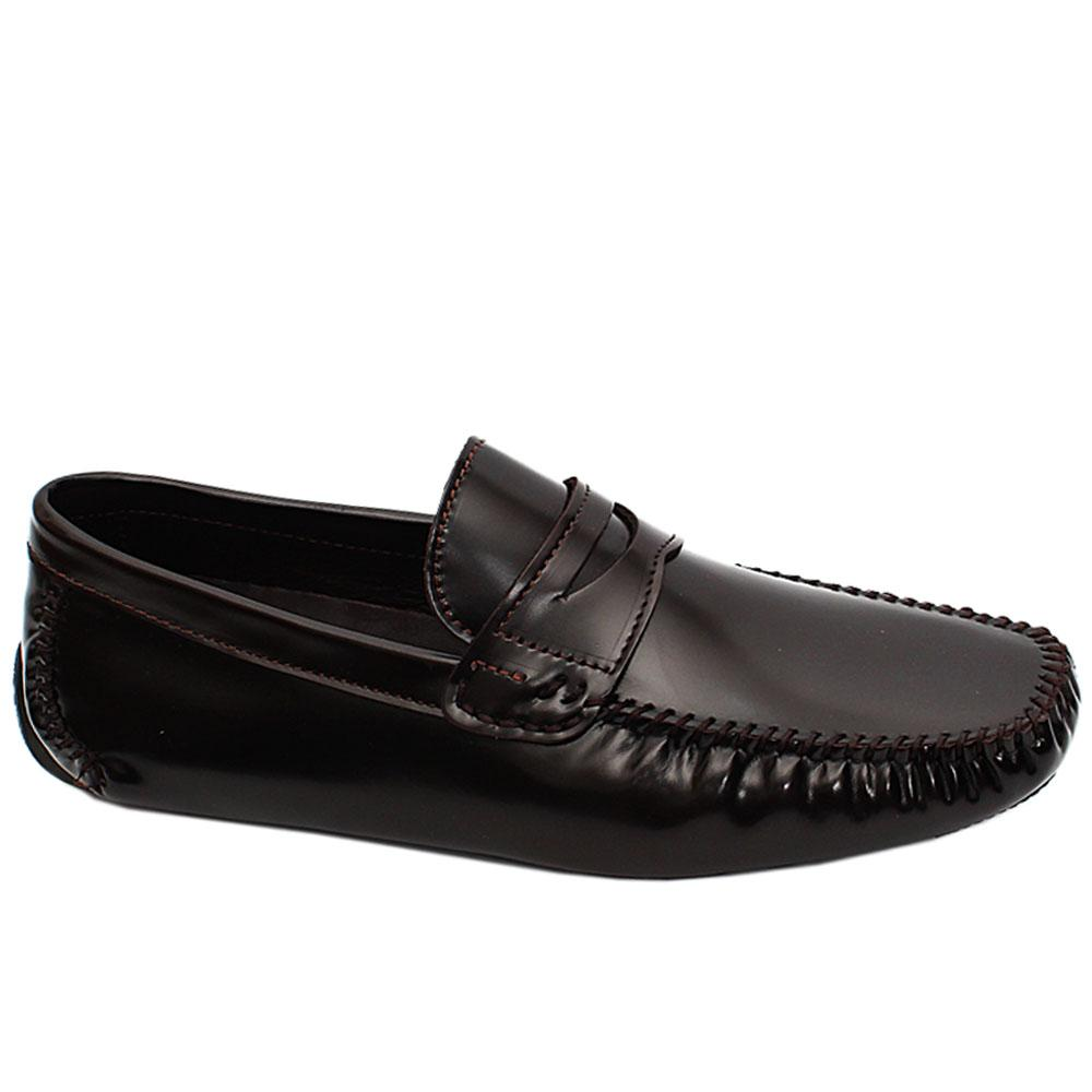 Coffee Patent Italian Leather Drivers Loafers
