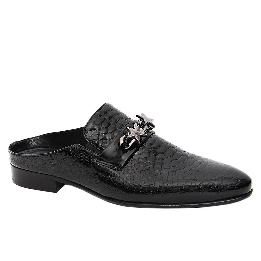 Black Darren Patent Italian Leather Half Shoe