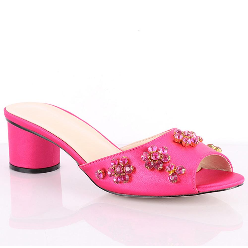 Pink Fontana Studded Leather Low Heel Slippers