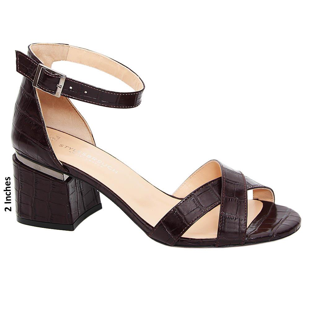 Coffee Eloise Tuscany Leather Crossover Mid Heel Sandals