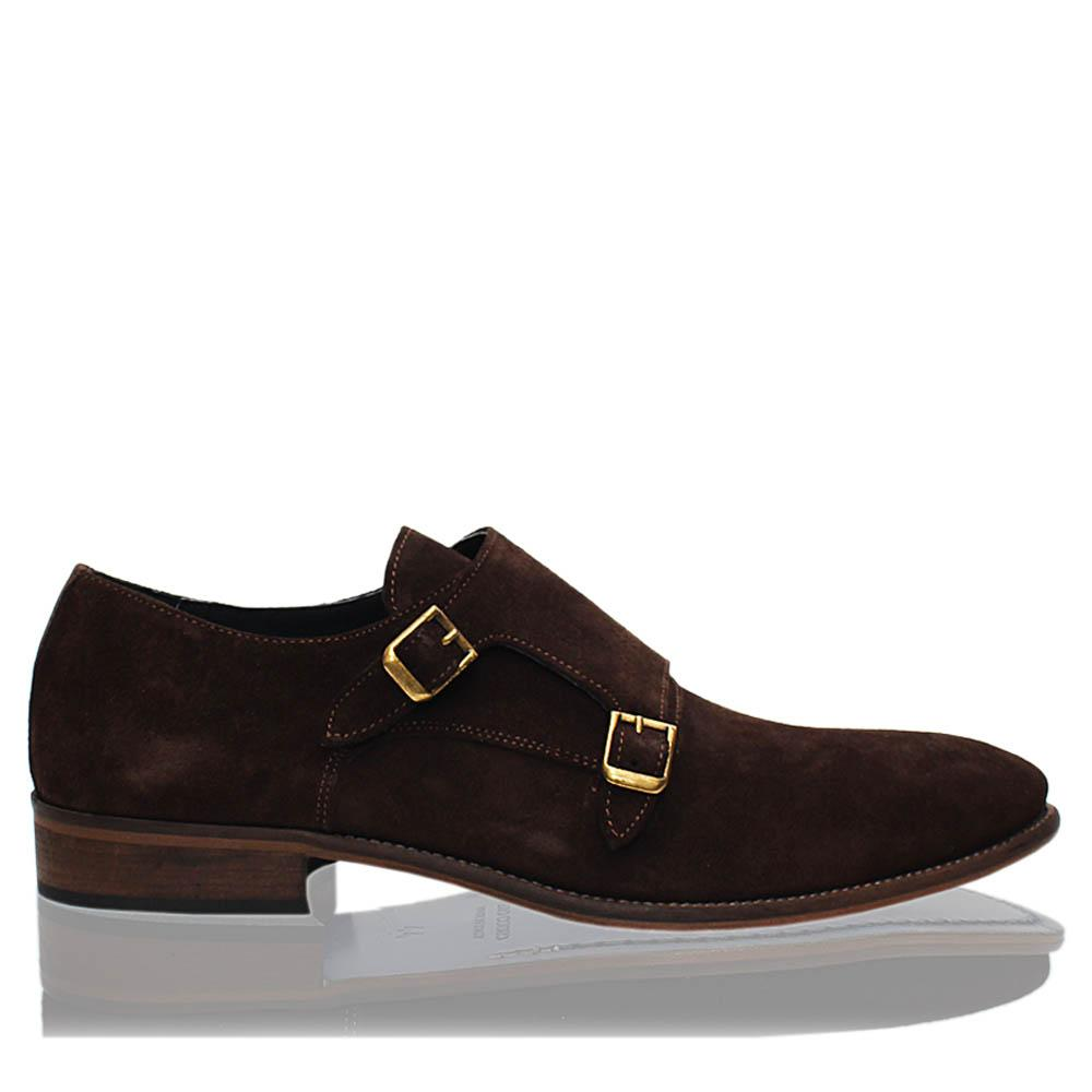 Coffee Dario Italia Suede Leather Men Monk Strap Shoes