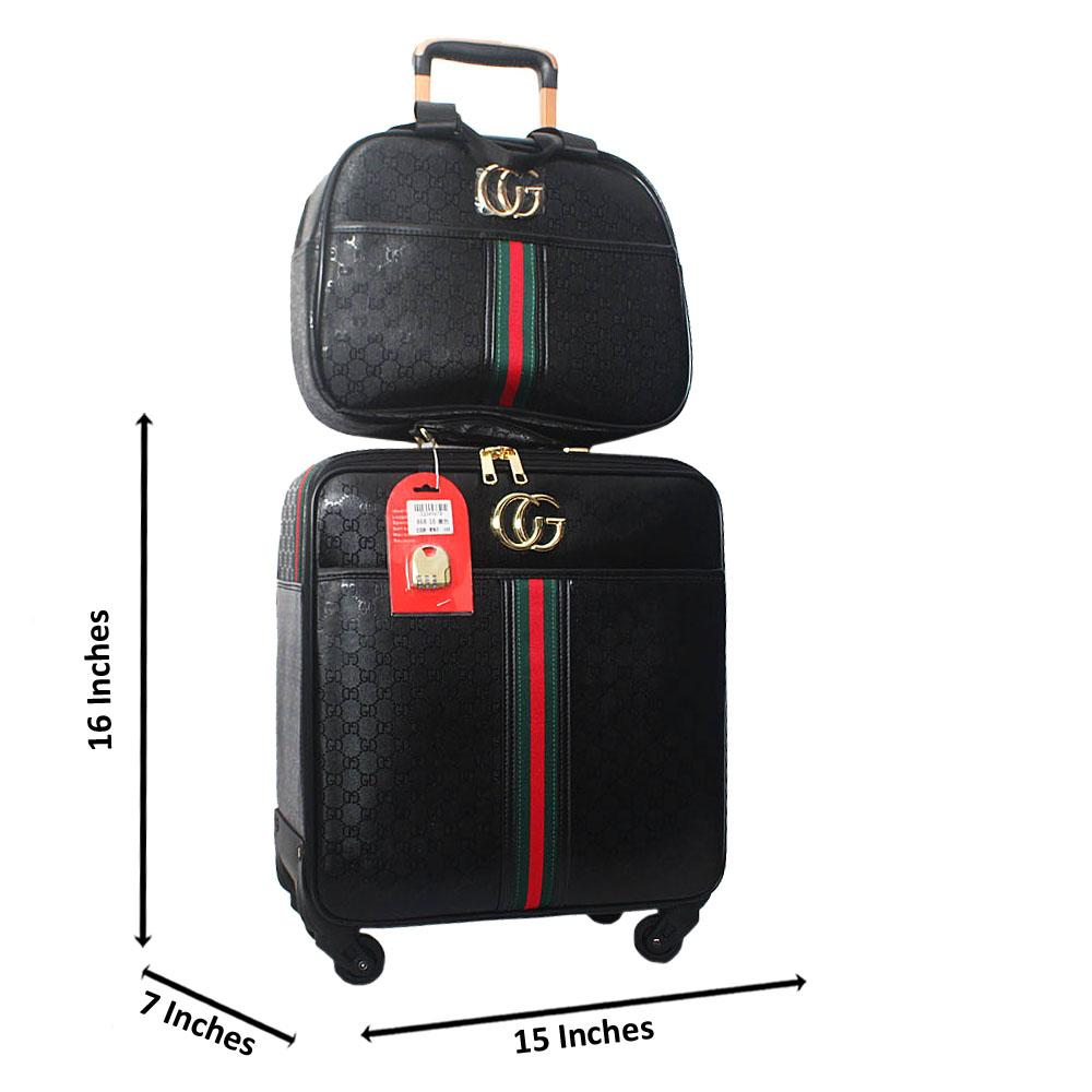 Black 16 Inch Leather 2 in 1 Pilot Suitcase Wt Lock