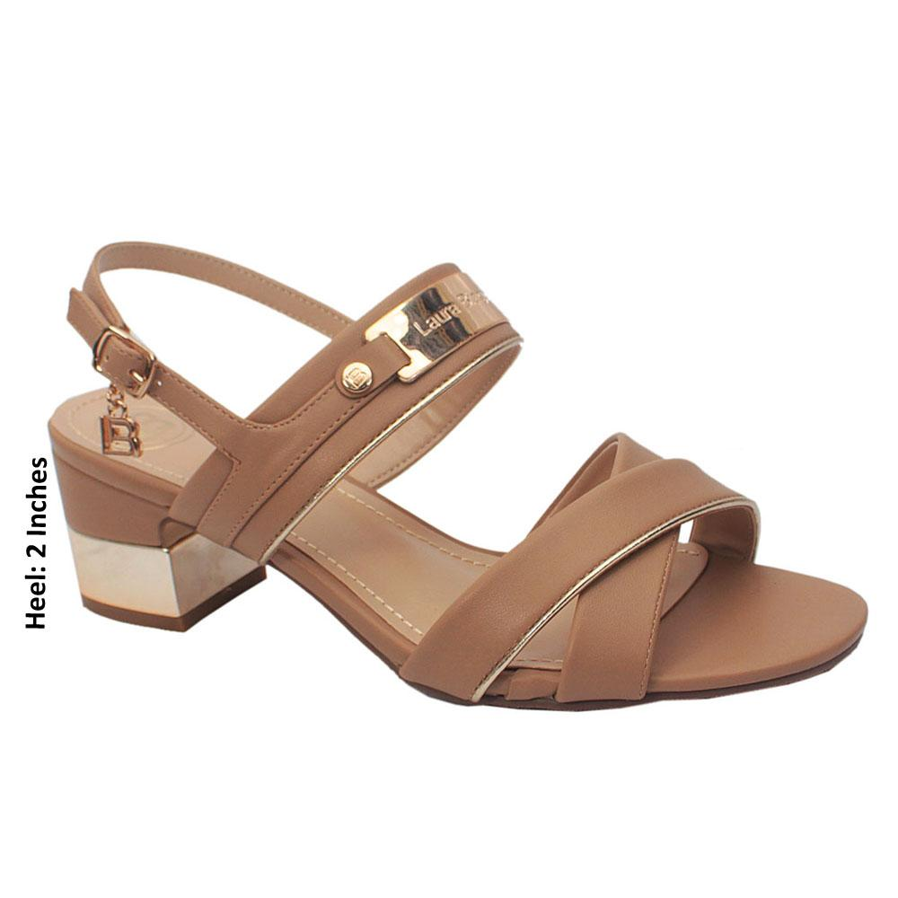 Biege Leather Low Heels