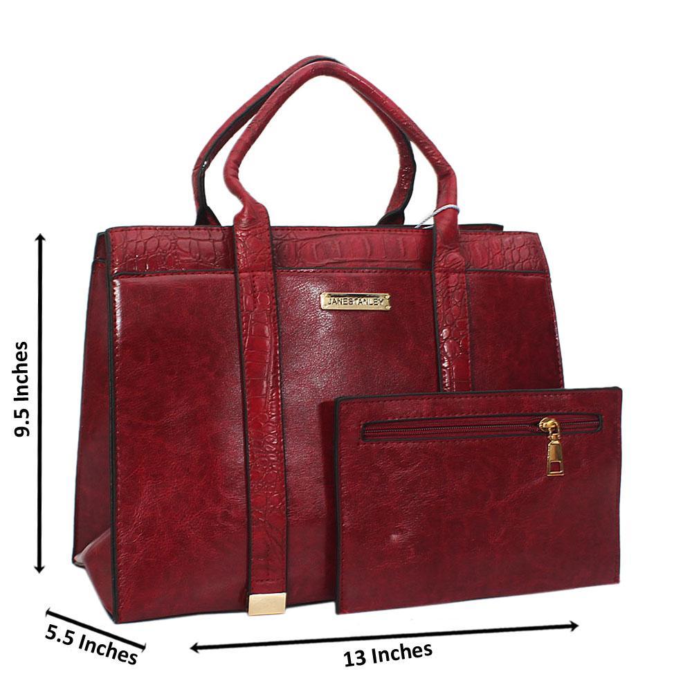 Jane Stanley Ace Wine Leather Tote Handbag