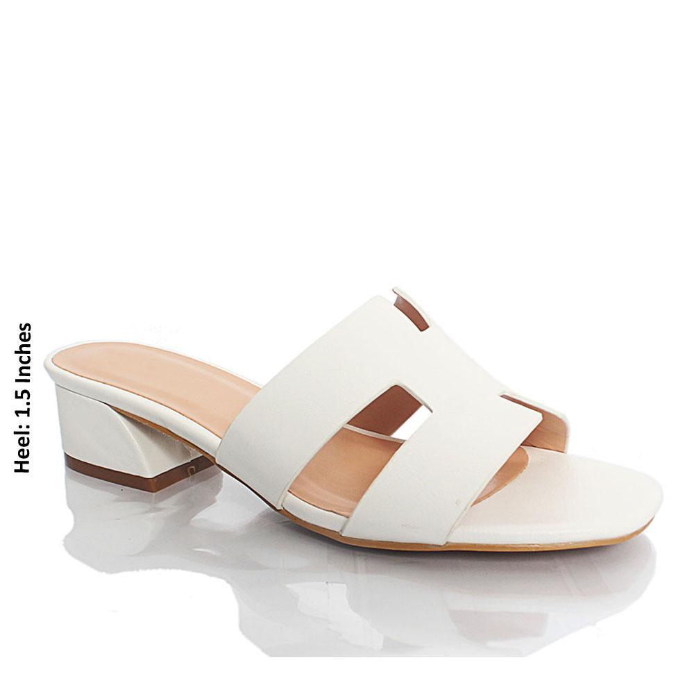 White LL Sofia Leather Mule