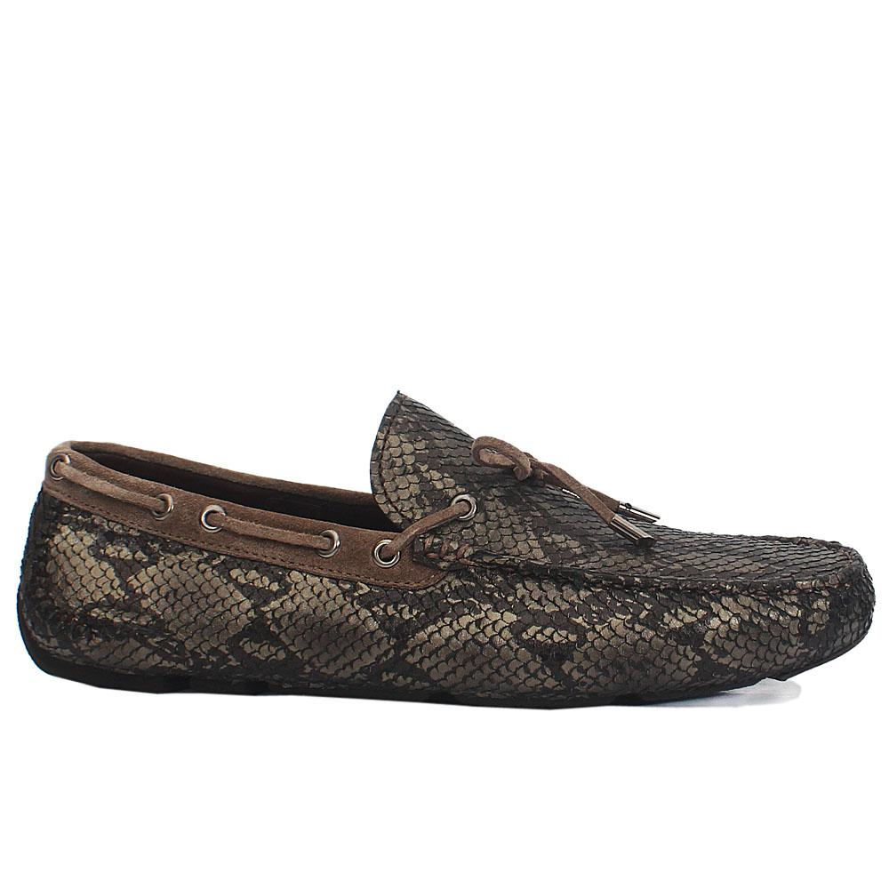 Metallic Gray Testa Snake Styled Italian Leather Drivers Shoes
