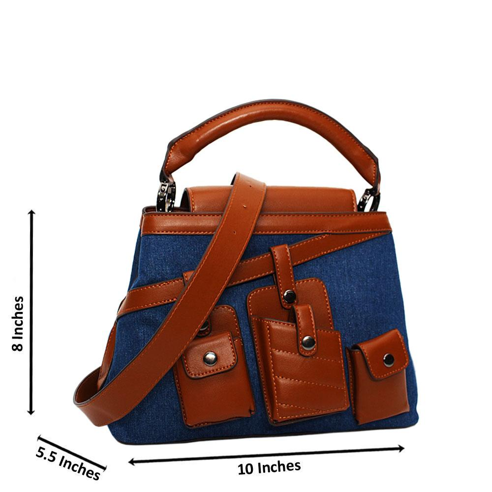 Brown-Mix Leather Jeans Handbag