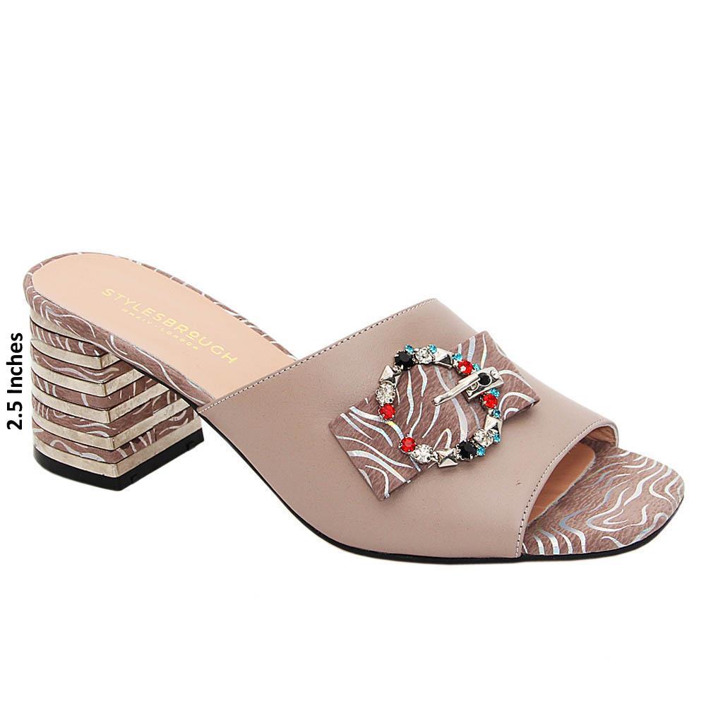 Dark Beige Miranda Tuscany Leather Mid Heel Mule