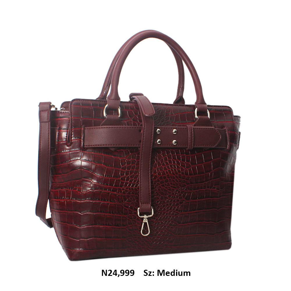 Wine Kayla Croc Leather Tote Handbag