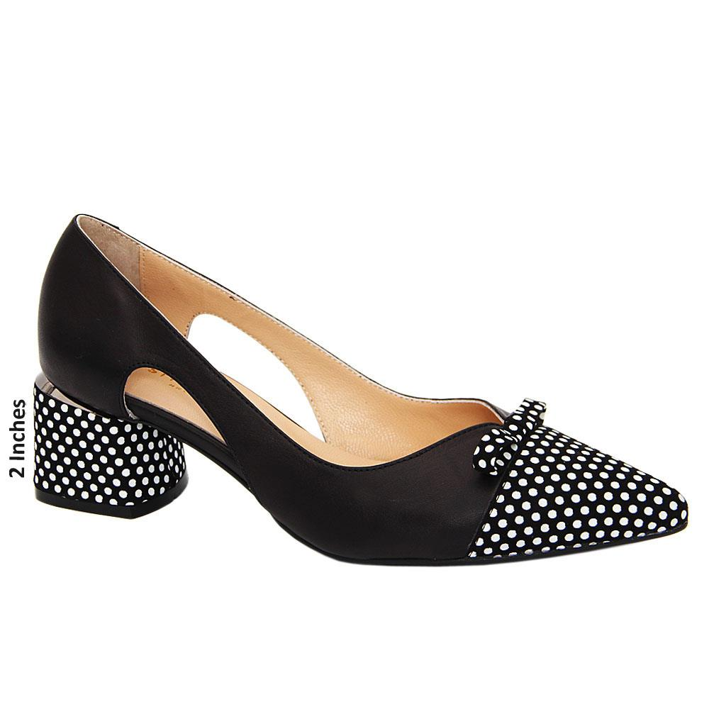 Black Amber Polka Dot Tuscany Leather Cut-Out Mid Heel Pumps